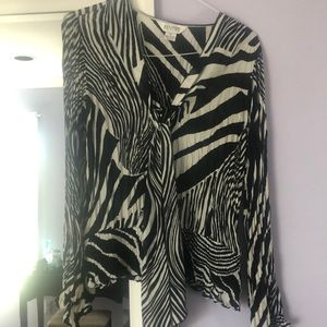 Zebra silk looking blouse gathered at waist